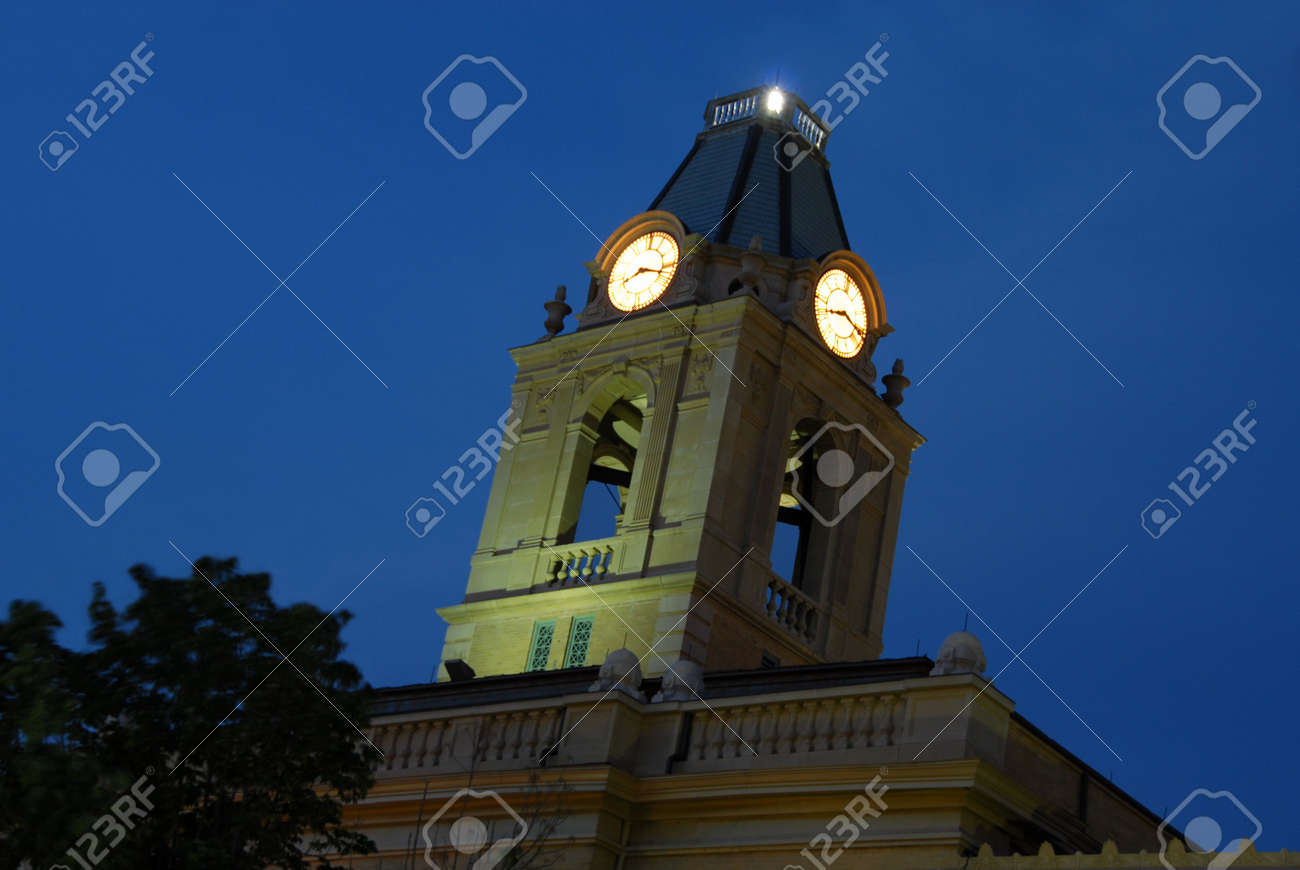 Tennessee robertson county springfield - Small Town Springfield Tennessee Robertson County Court House Nightscape Clock Tower Angled View From Ground
