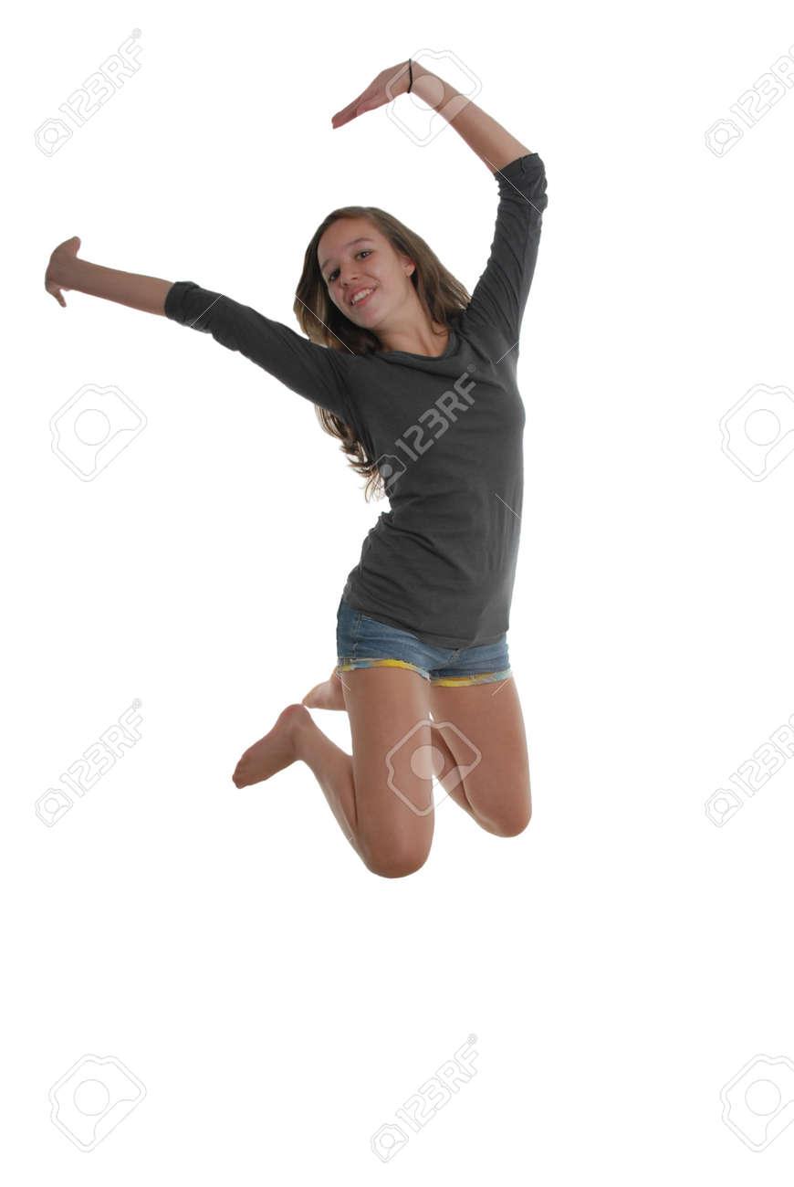 Fröhlich Glücklich Anmutigen Teenager Mädchen Springt In Die Luft ...