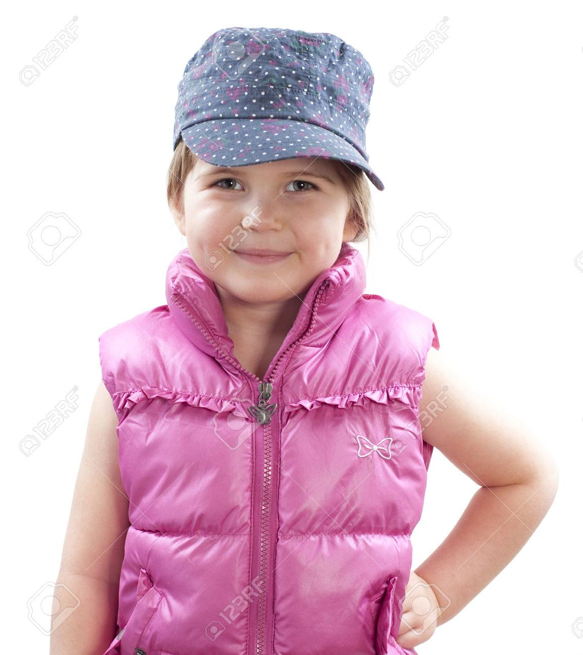 little girl wearing baseball cap and smiling on white Stock Photo - 29218251 8fbb6c1d762