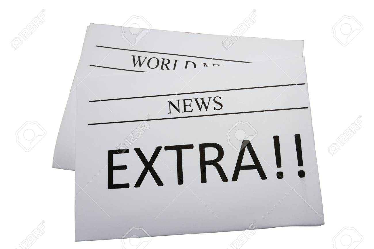 Newspaper with extra news isolated on white Stock Photo - 12907268
