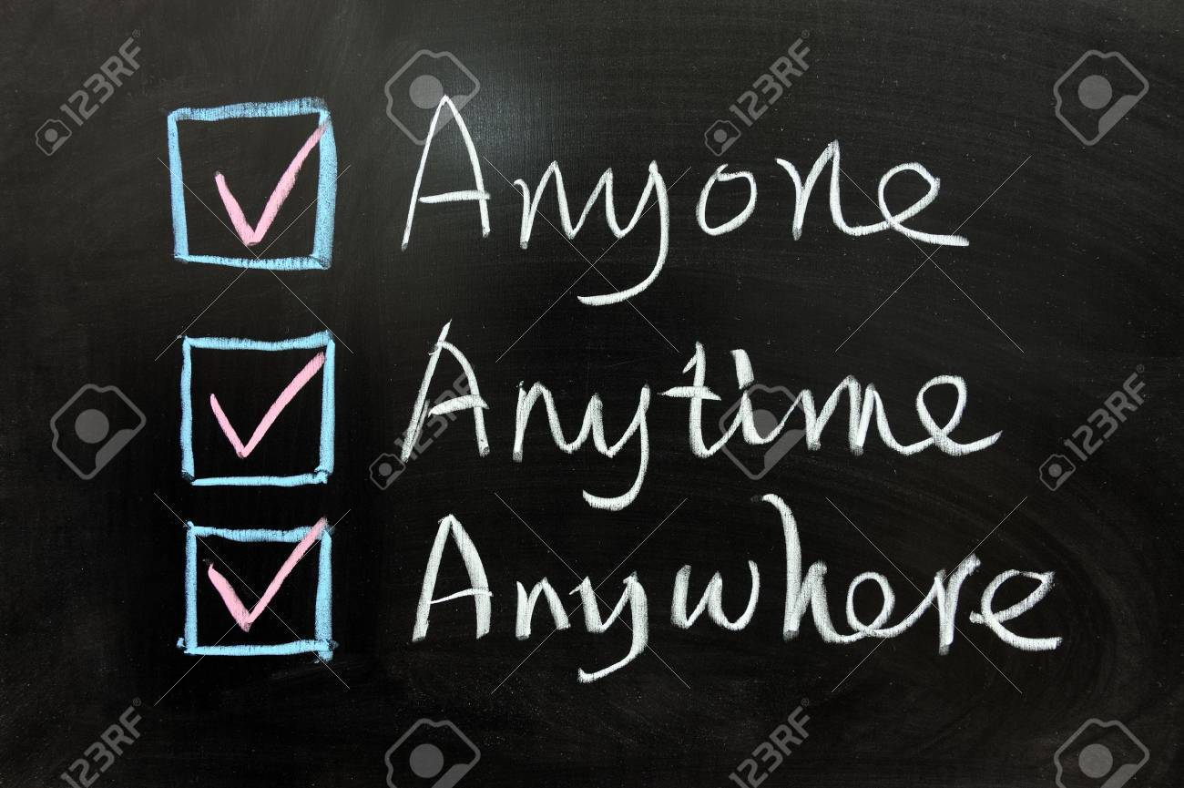 Check box of Anyone, Anytime and Anywhere on chalkboard Stock Photo - 13271976