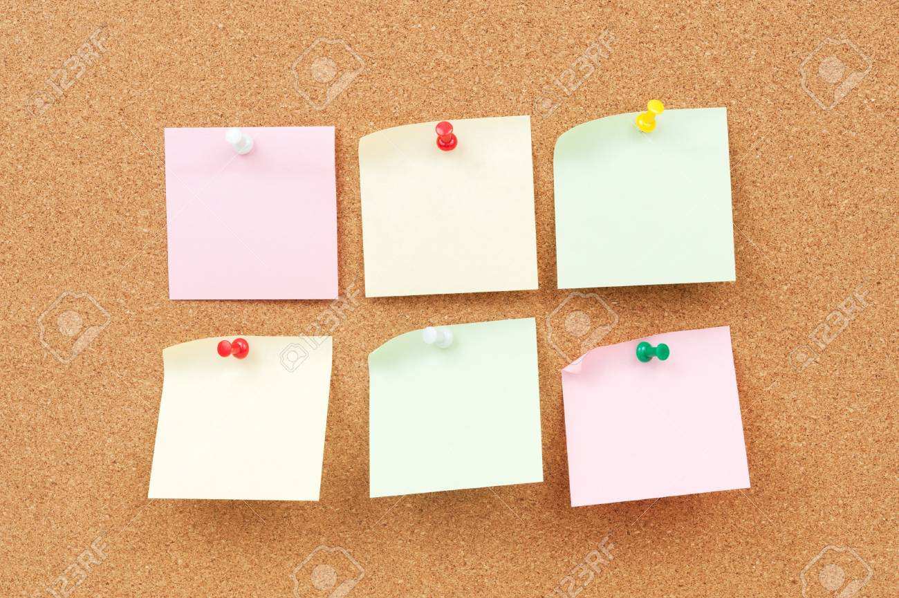 Group of thumbtack and note paper on corkboard Stock Photo - 18656770