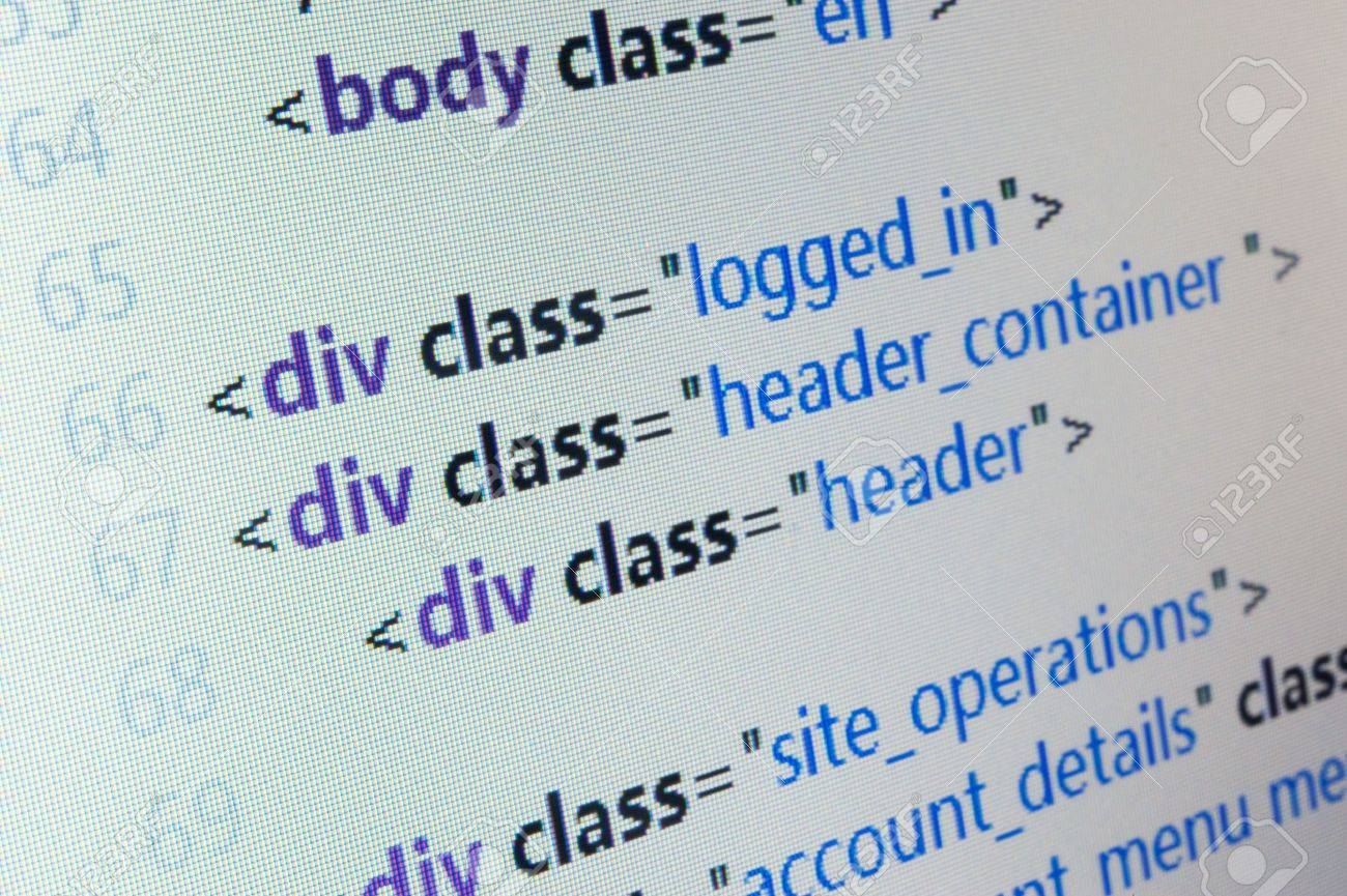 HTML source code close up on computer LCD monitor Stock Photo - 18911929