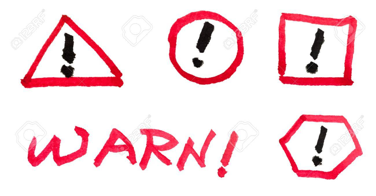 Group of warn sign drawn on white background Stock Photo - 24538148