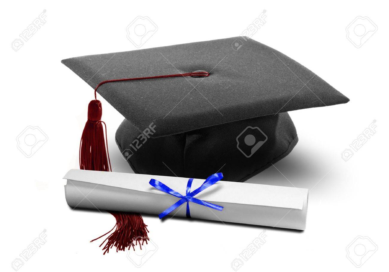 Image Of Graduation Hat And Diploma Scroll Stock Photo, Picture And ...