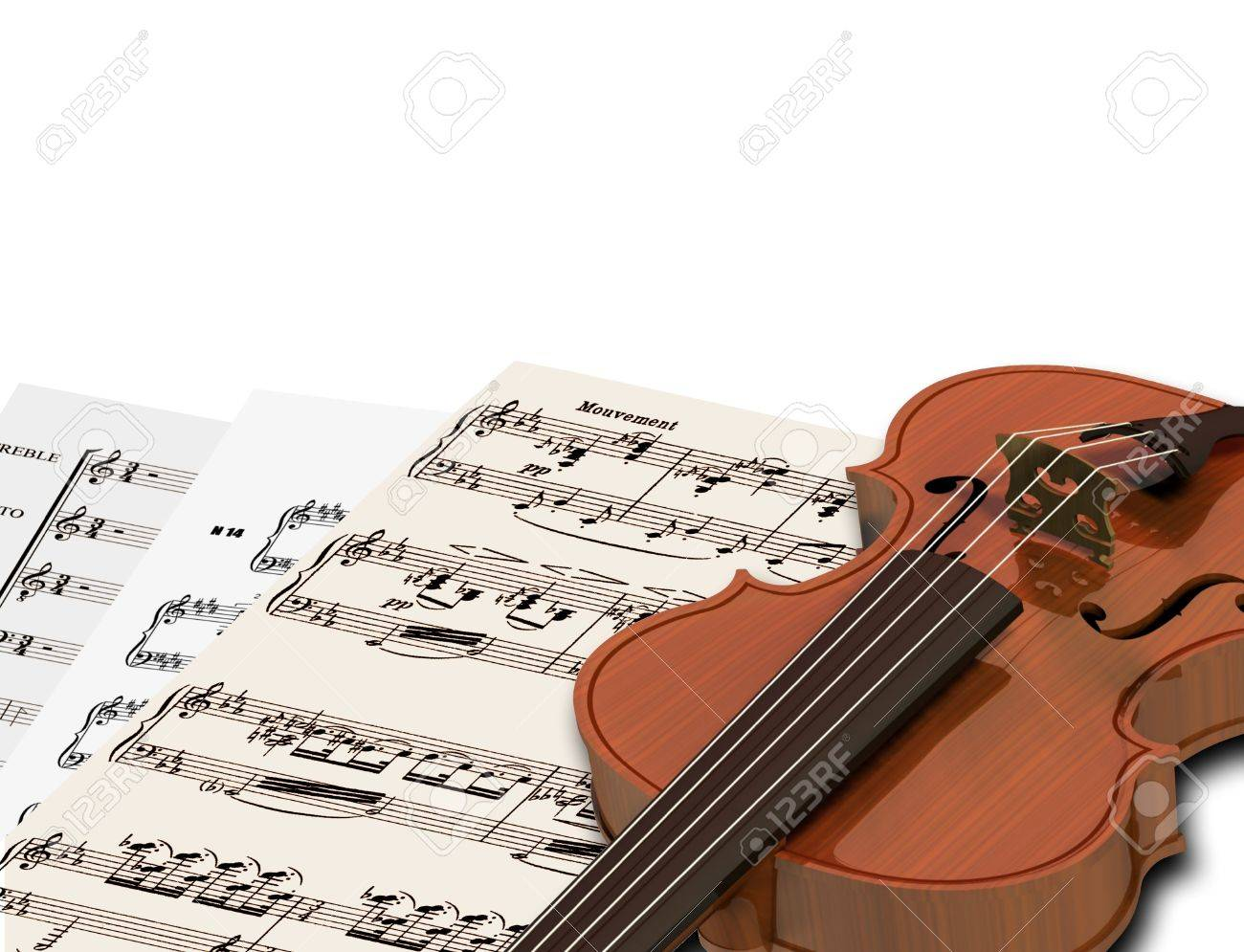 image of music sheets and notes with violin stock photo picture