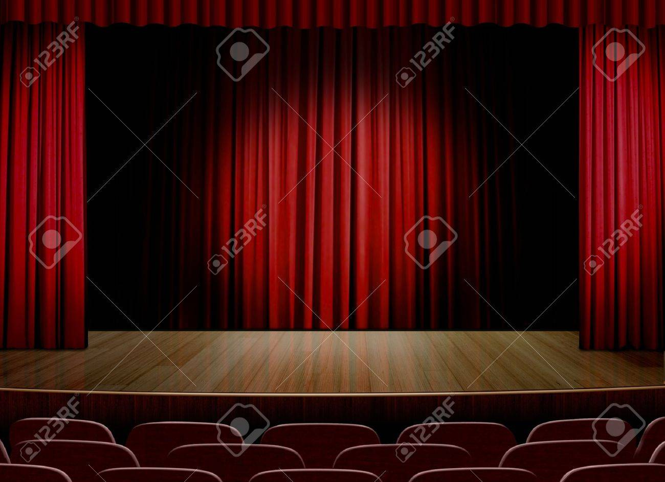 Empty stage curtains with lights - Empty Stage With Red Curtain Stock Photo 13619040