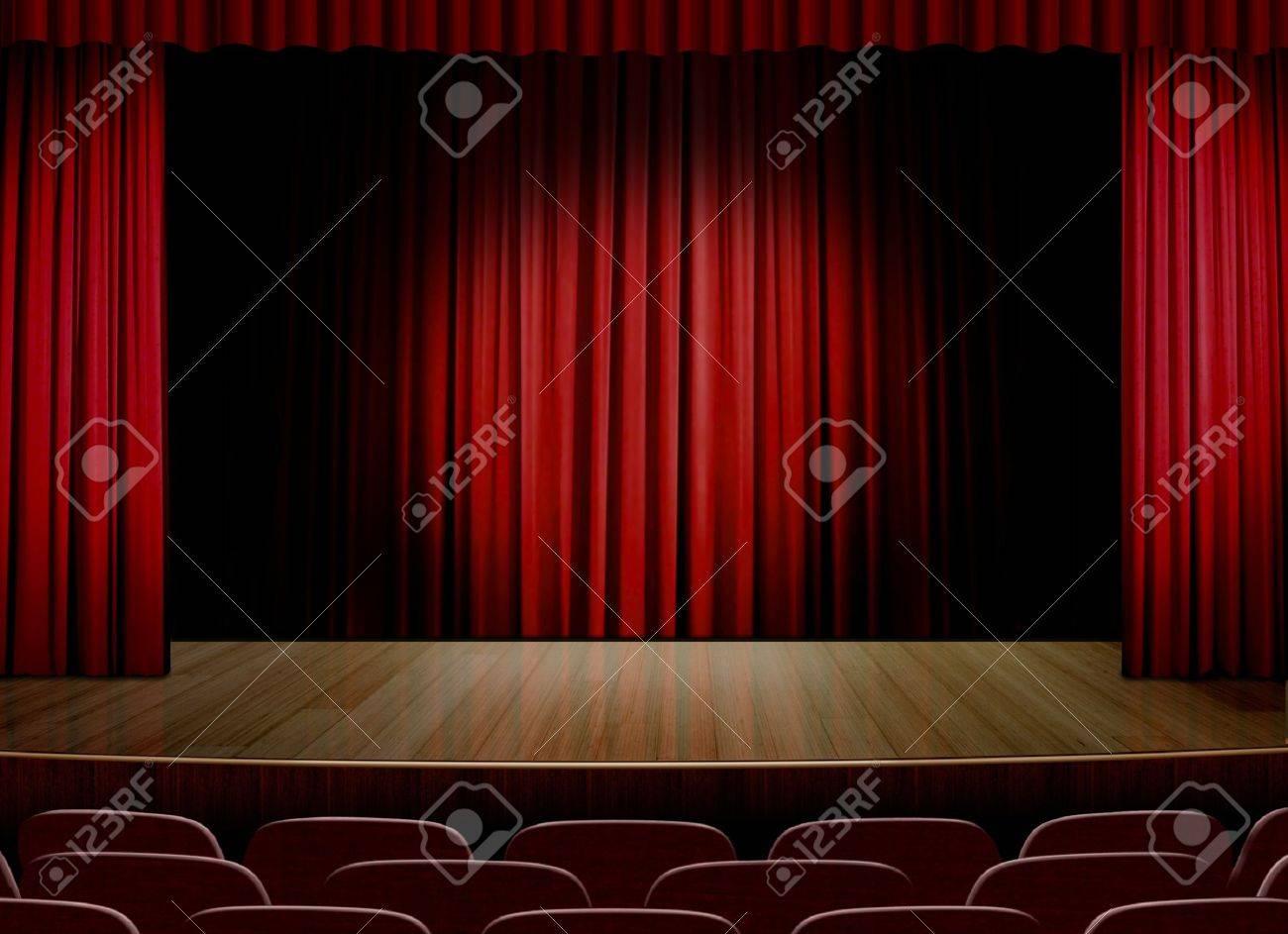 Scène Vide Avec Rideau Rouge Banque D\'Images Et Photos Libres De ...