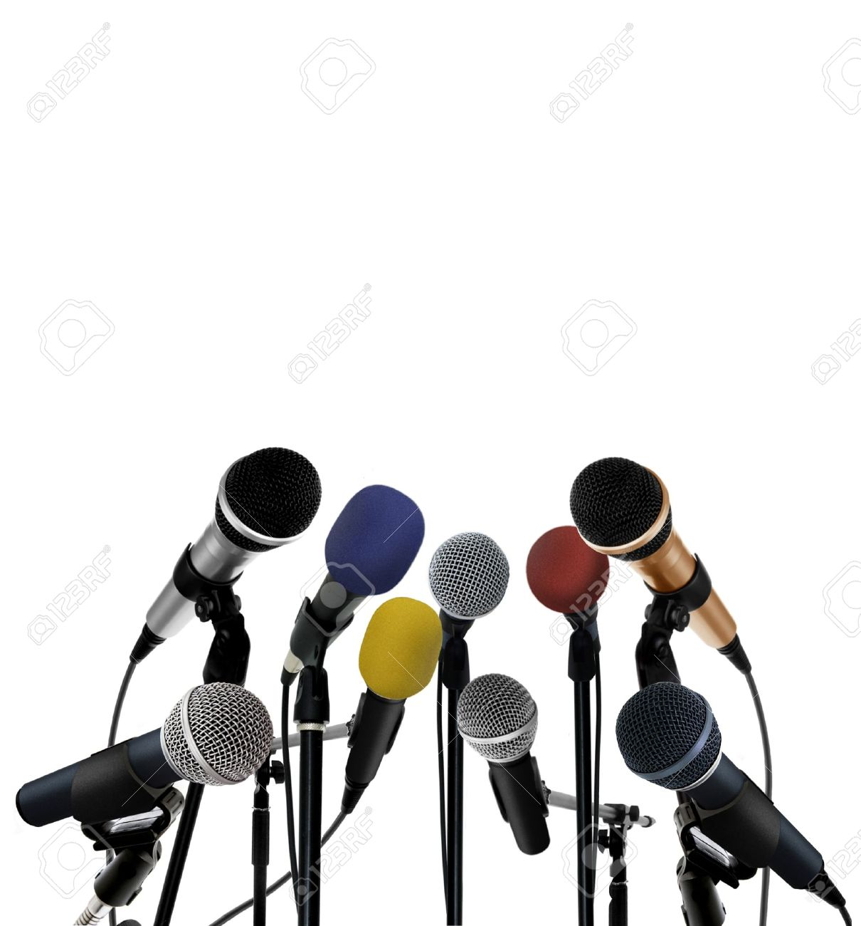 Press conference with standing microphones Stock Photo - 14009840
