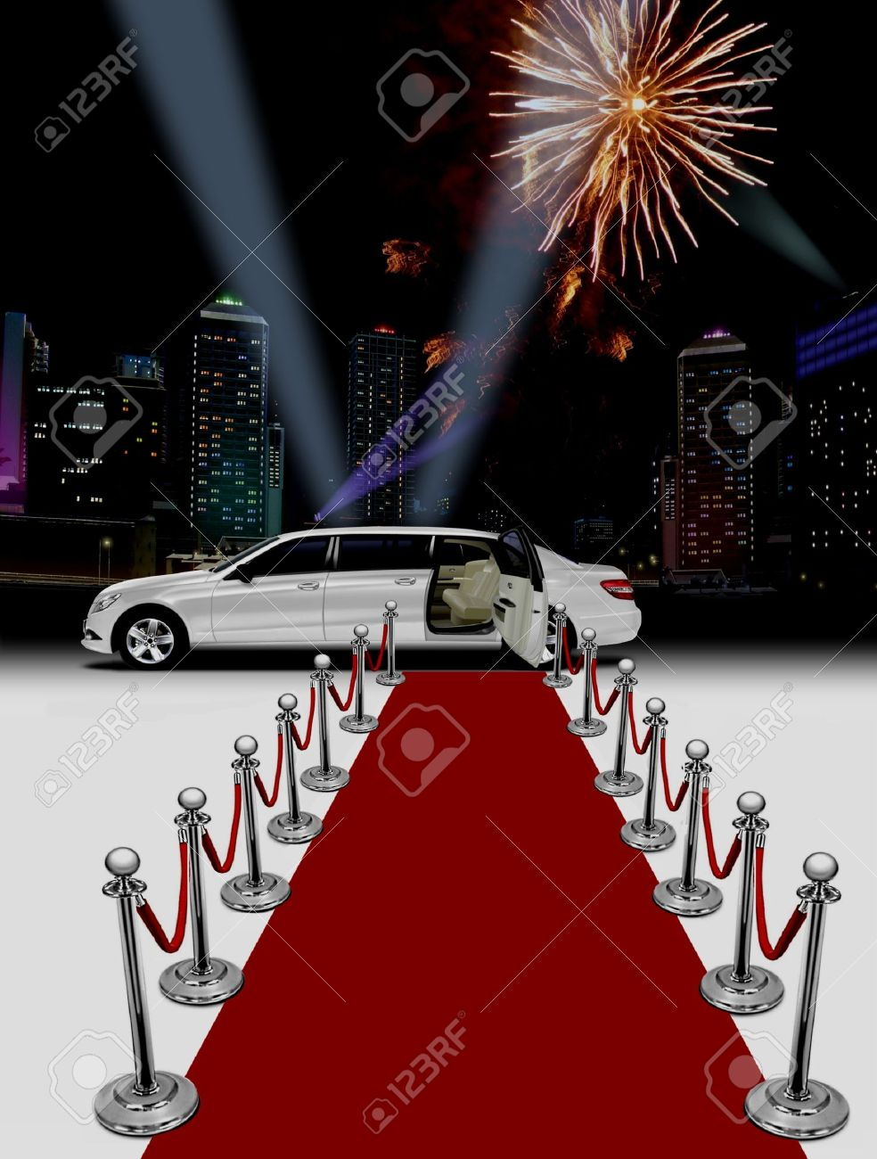White limo and red carpet at night Stock Photo - 15533185