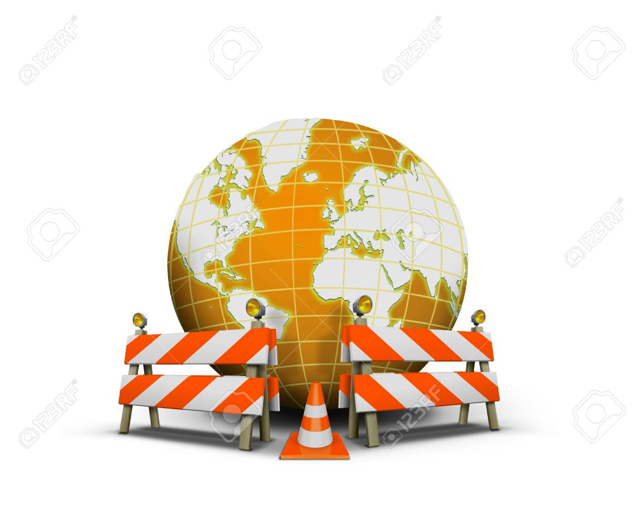 Website under construction with globe and barrier Stock Photo - 17362418