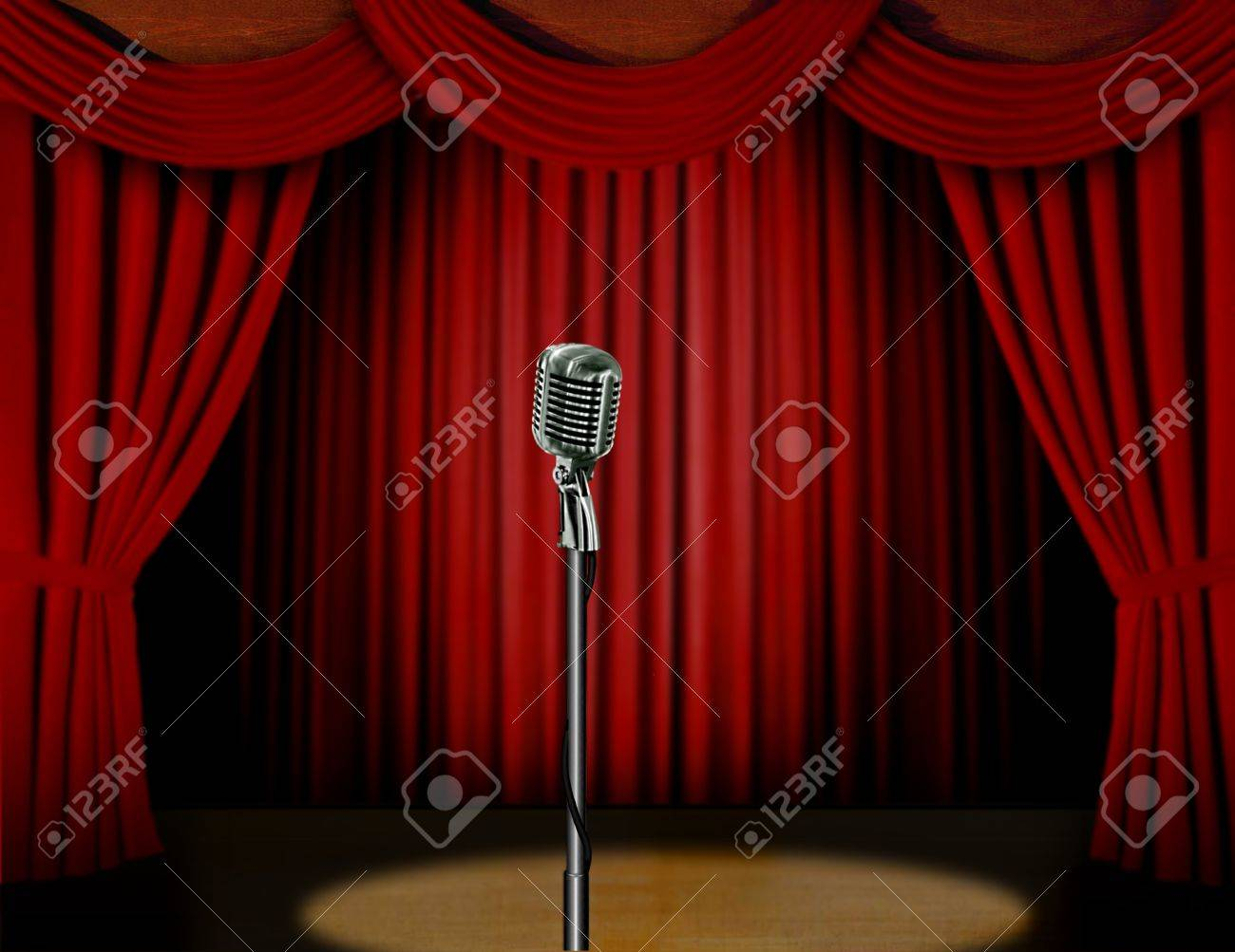Stage curtains spotlight - Retro Microphone And Red Curtain On A Stage With Spotlight Stock Photo 20535111