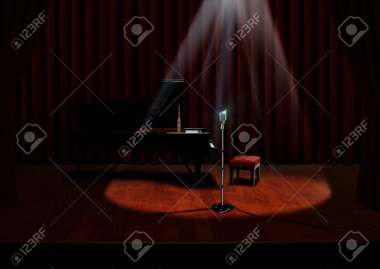 Red curtains with spotlight - Piano And Microphone Under Spotlight With Red Curtains Stock Photo 22718995