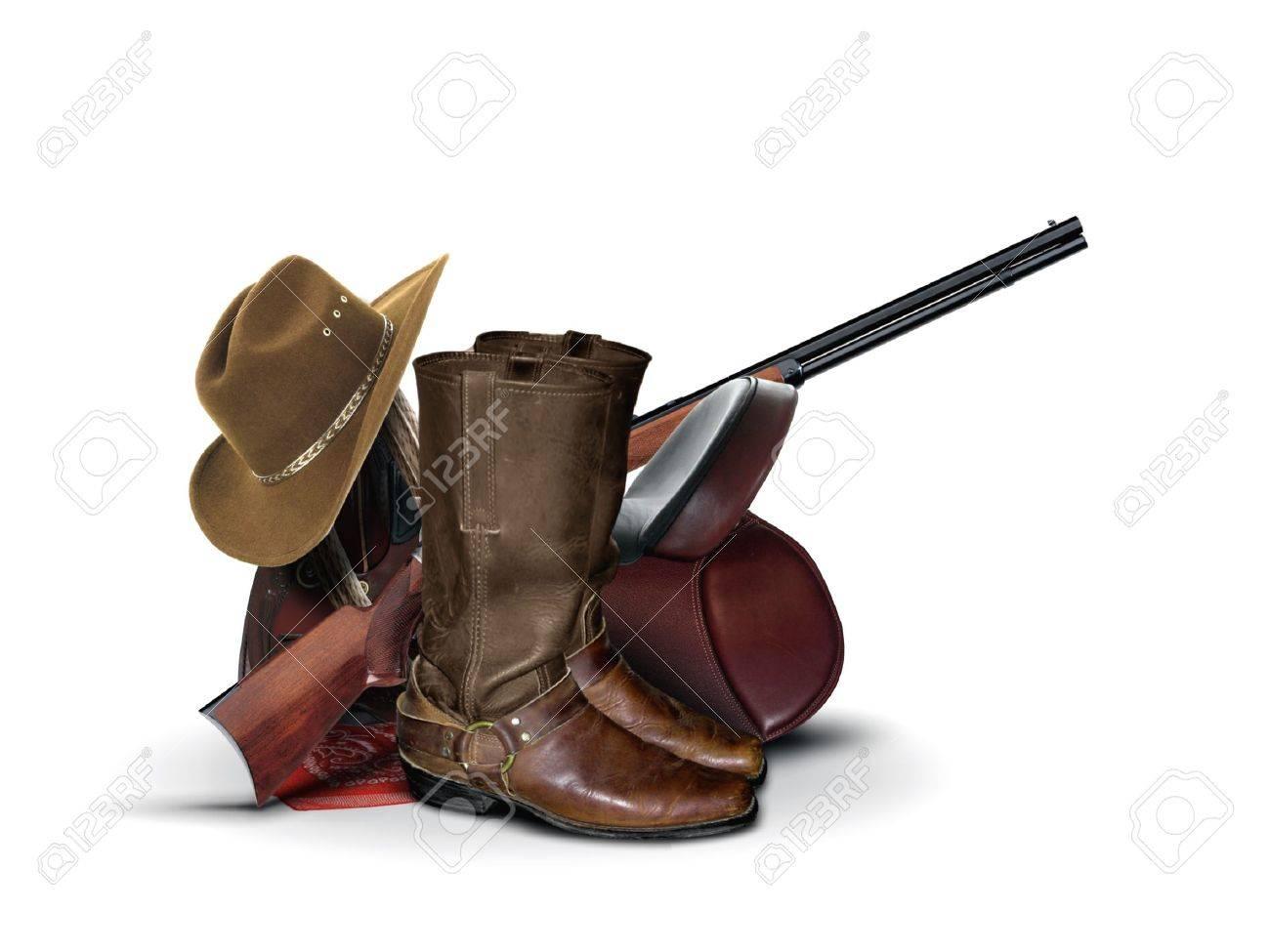 Cowboy Equipment over White - 26245359