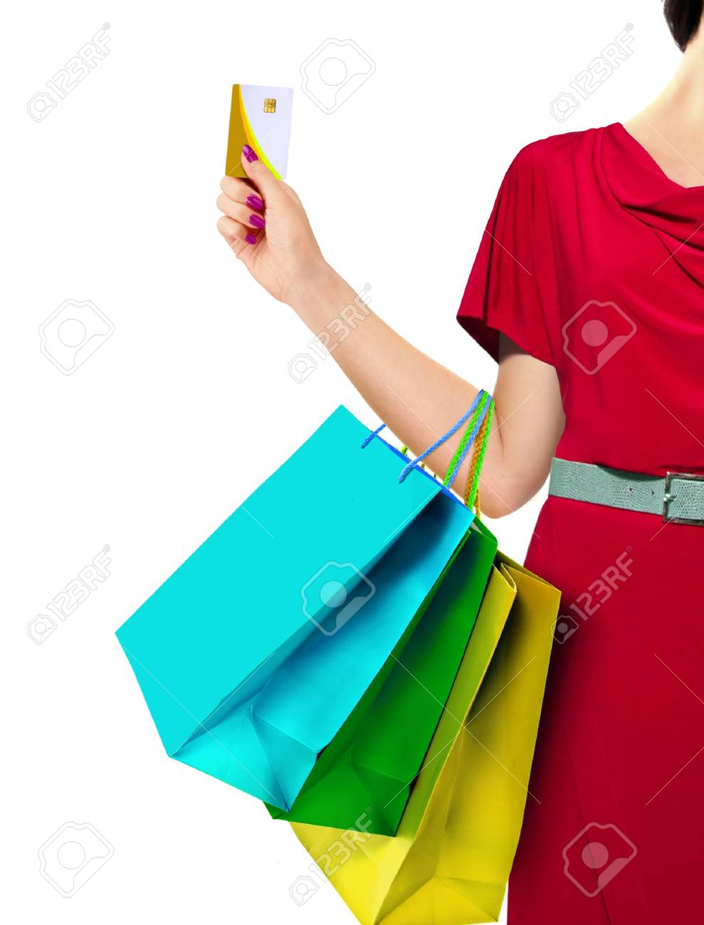 Women with Shopping Bags and Credit Card - 32643597