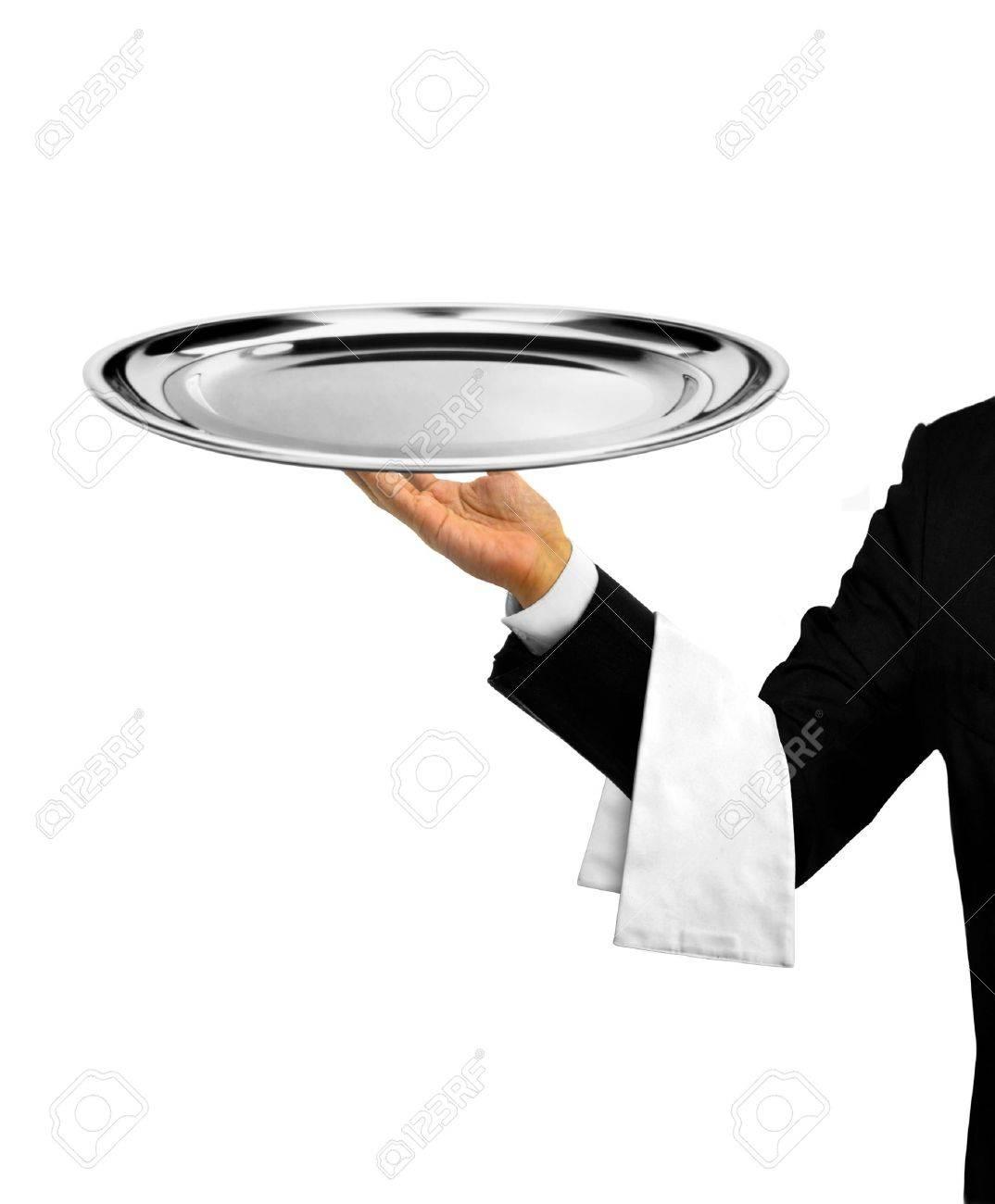 Waiter Serving Empty Platter - 35180429