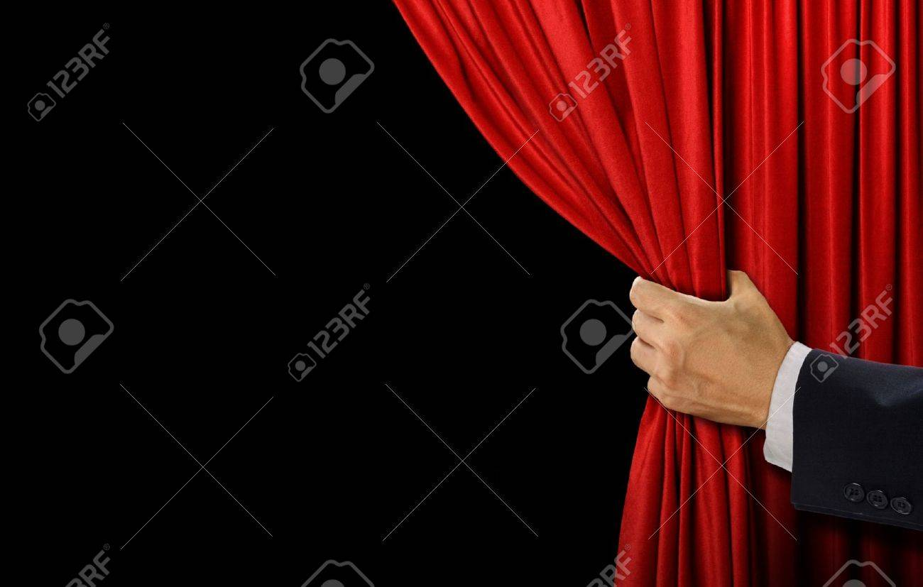 Hand open stage red curtain on black background - 62198496