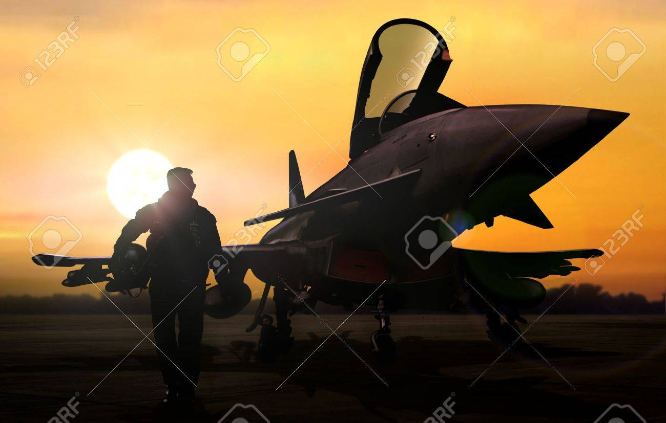 Military pilot and aircraft at airfield on mission standby - 62198739