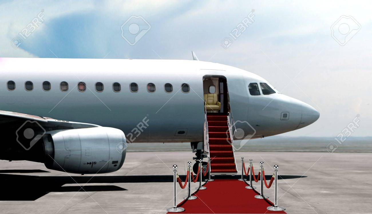 Airplane departure entrance with red carpet - 68883774