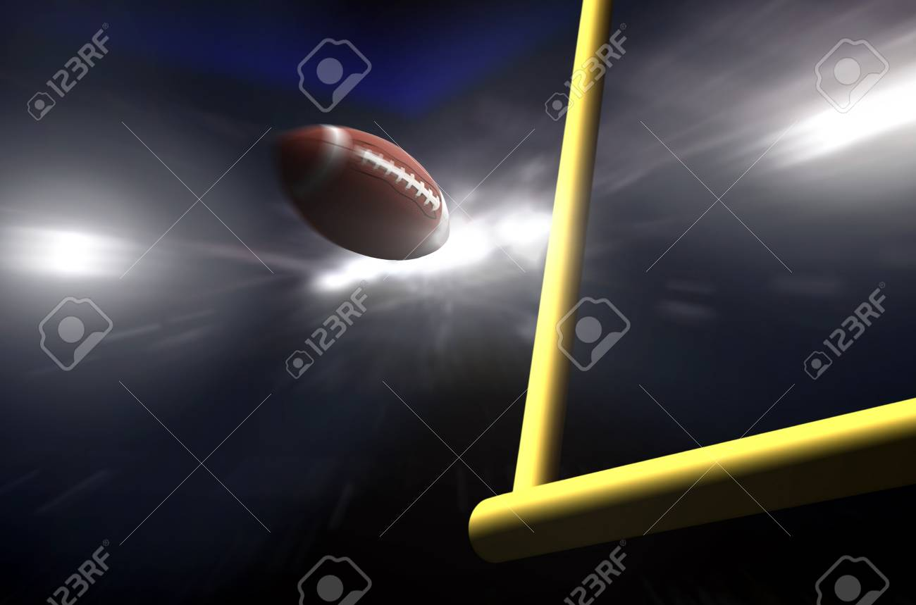 American football over goal post at night - 84051388