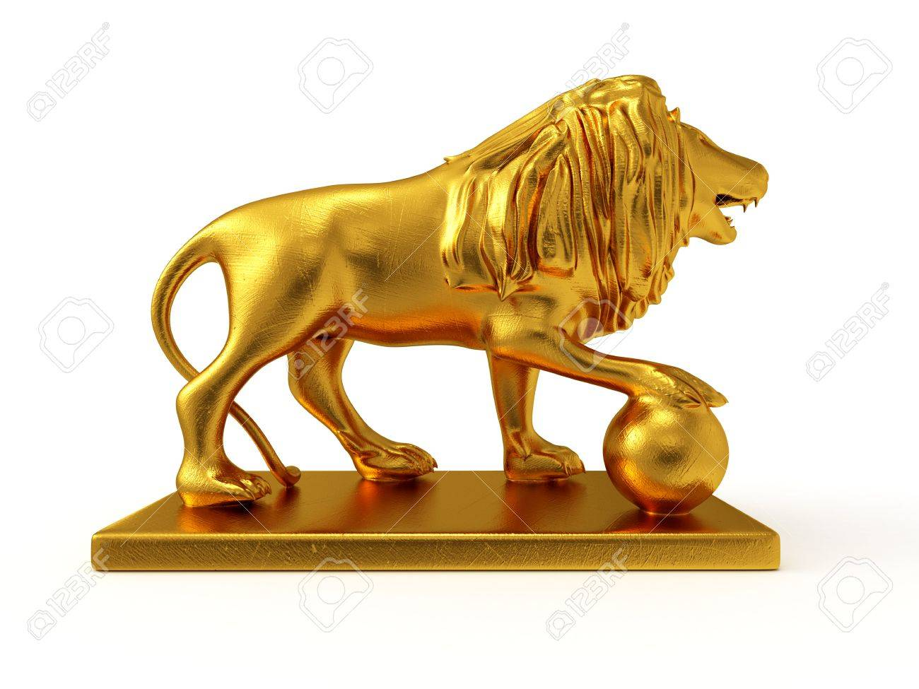 golden statue of a lion 3d rendered isolated on white background
