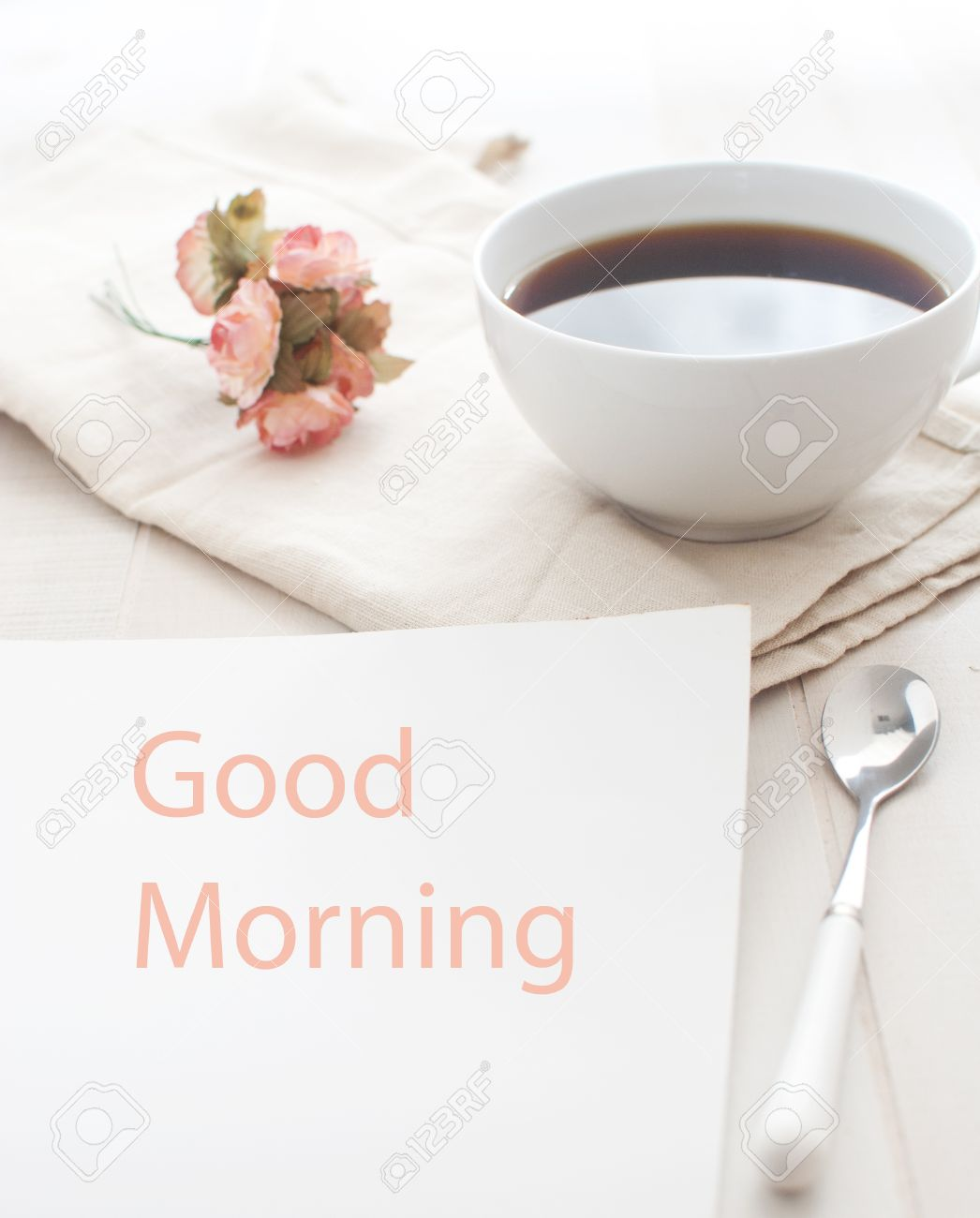 Good Morning Greeting Note And Coffee Royalty Free Fotografie A