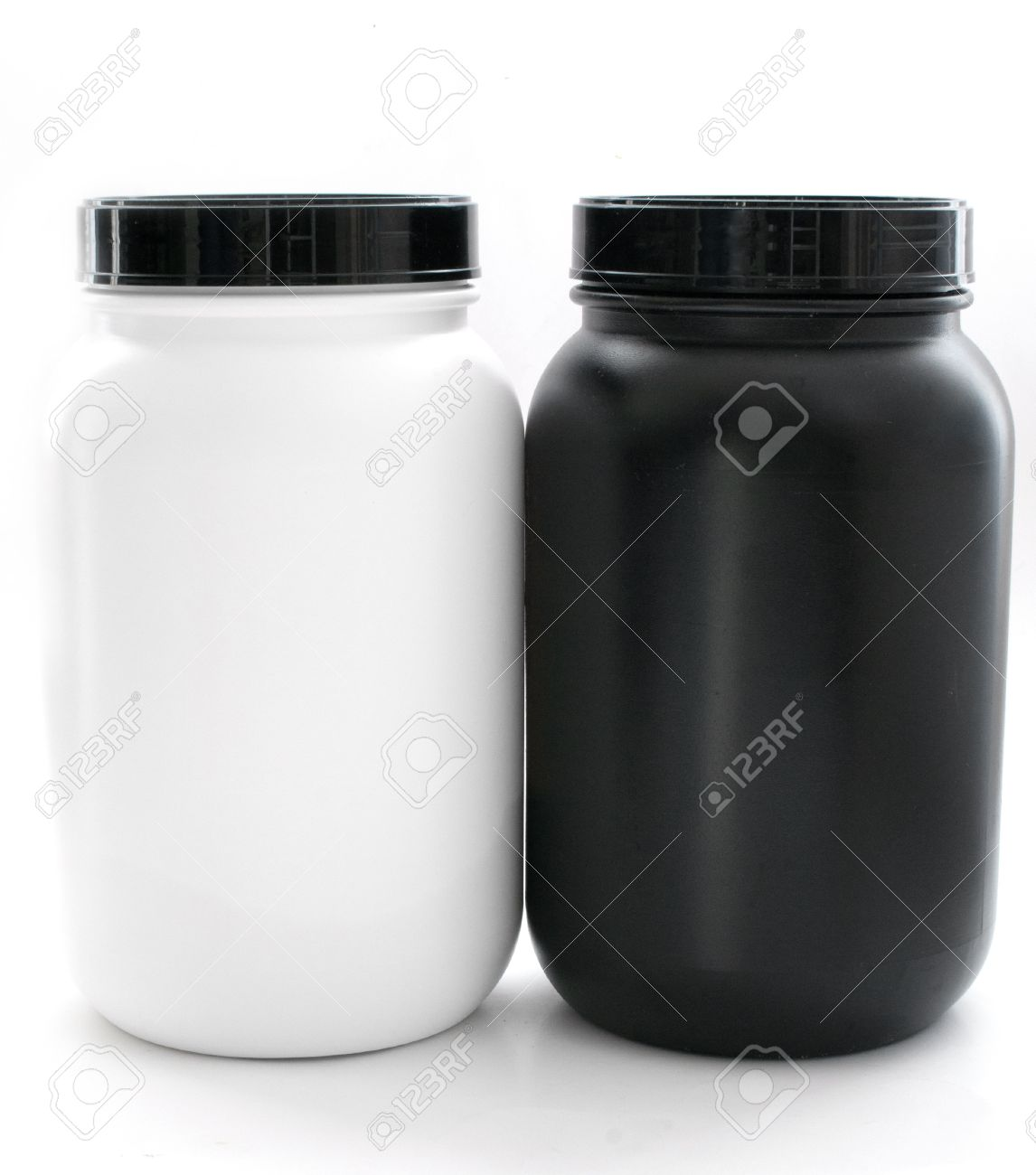 Jars for sport supplements black and white isolated - 15098653