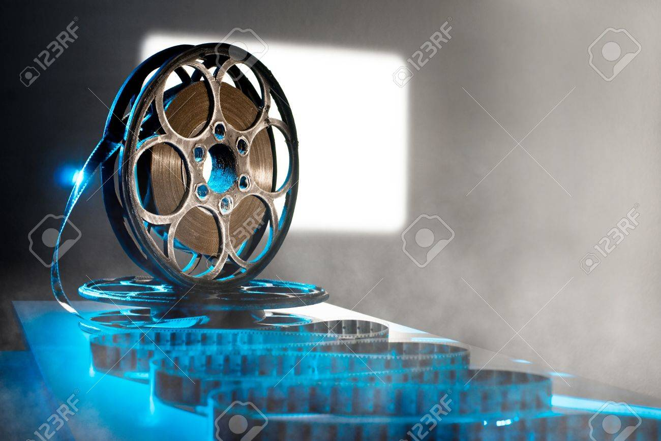 Reel of film on the background screen Stock Photo - 15405299