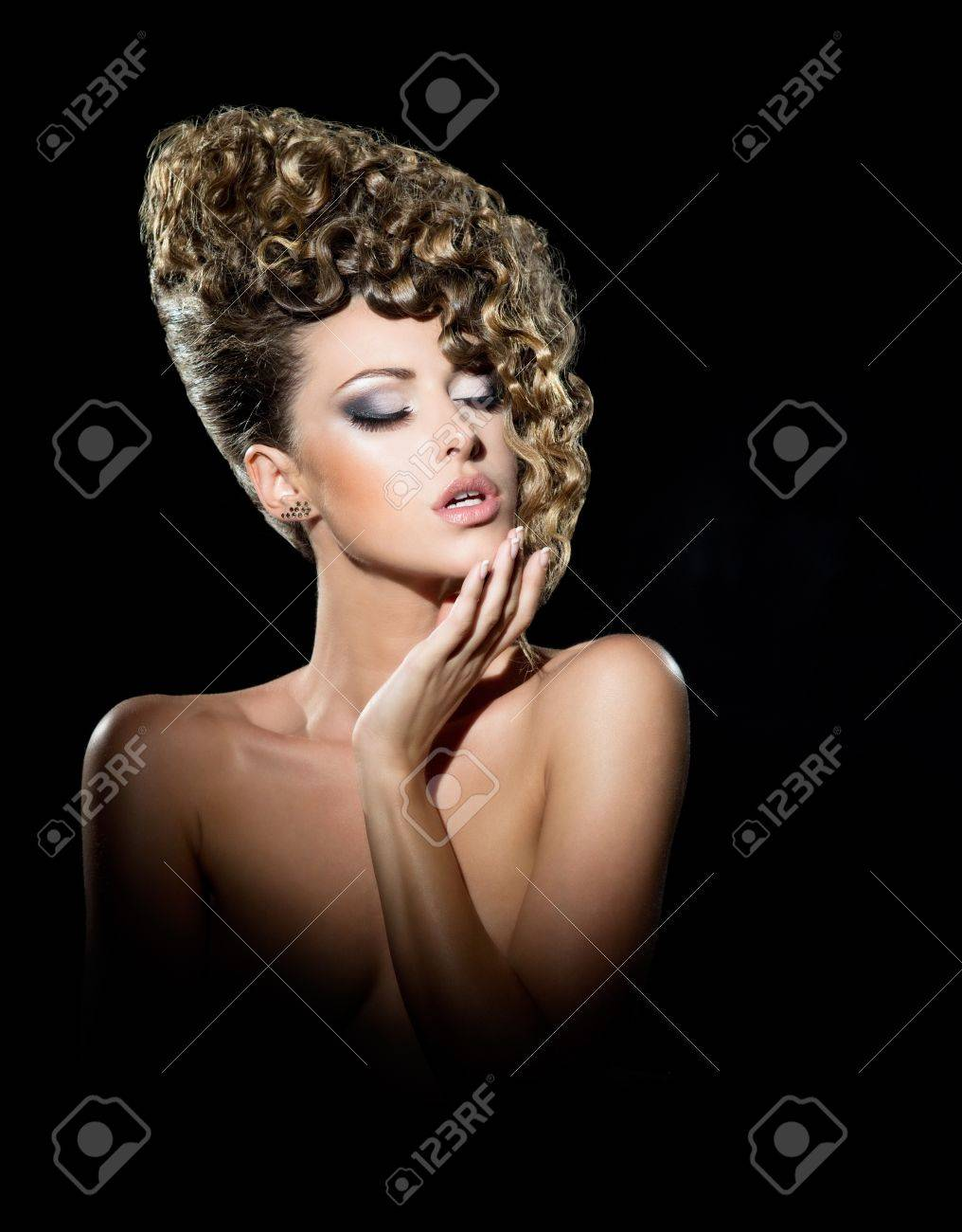 Portrait of beautiful girl with the hairdo Stock Photo - 16848742