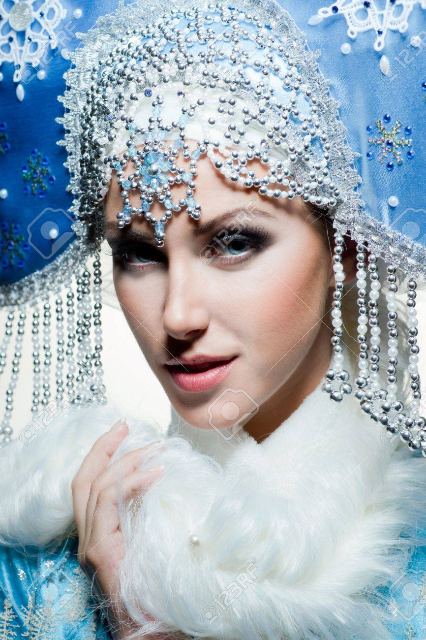 Snow maiden with blue eyes Stock Photo - 16969610