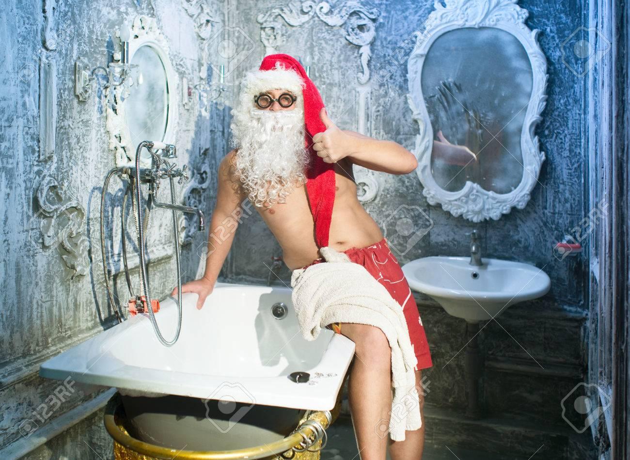 Santa Claus after taking a bath Stock Photo - 23485194