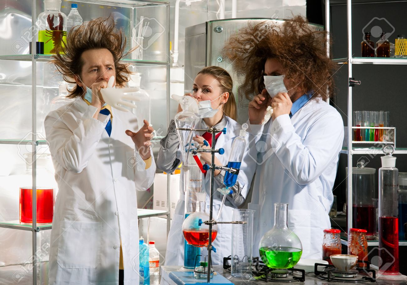 Crazy Chemists Conduct A Scientific Experiment In A Laboratory ...