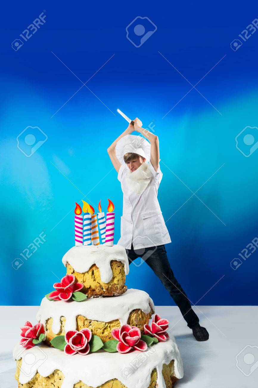 Groovy Funny Confectioner Cuts A Birthday Cake Stock Photo Picture And Birthday Cards Printable Trancafe Filternl