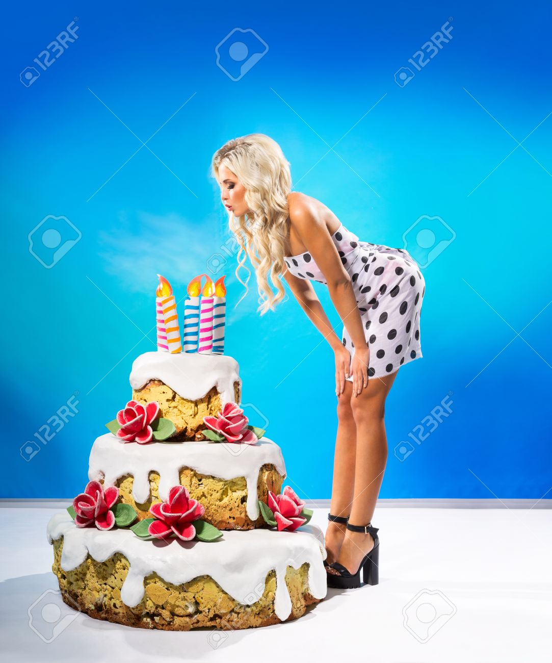 Fabulous Sexy Young Woman Blows Out The Candles On The Cake Stock Photo Personalised Birthday Cards Bromeletsinfo
