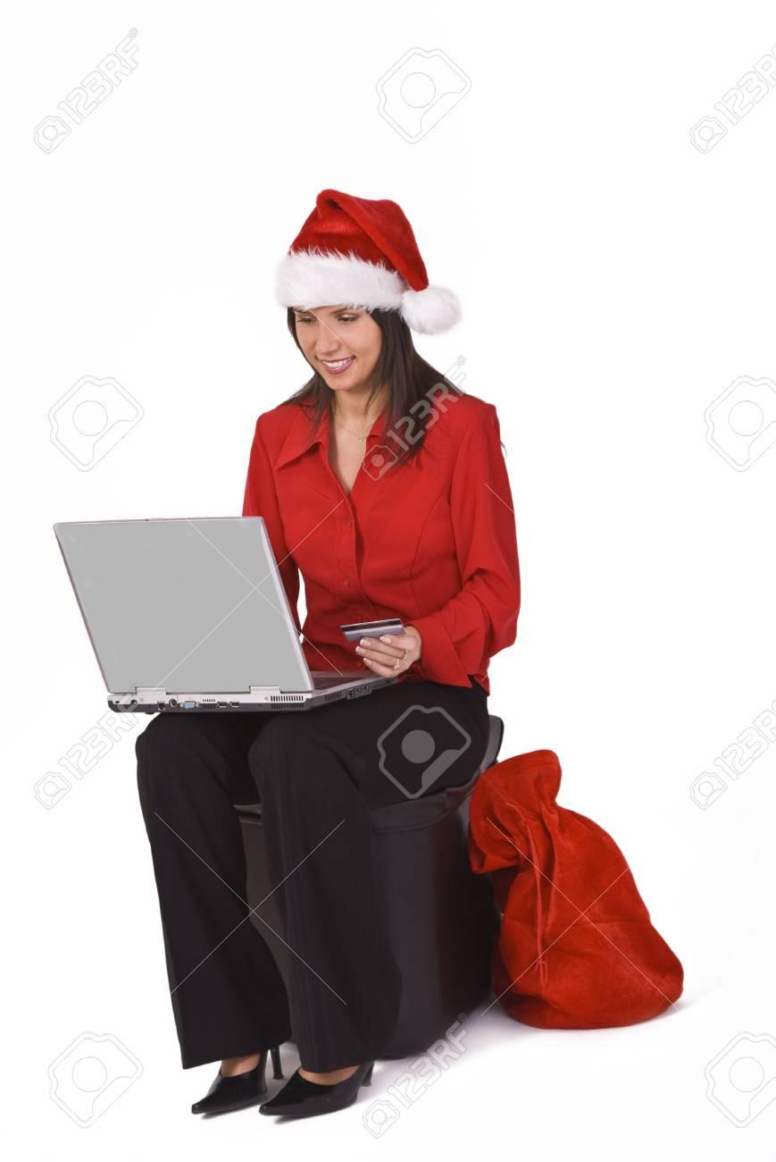 Santa\'s Secretary Is Shopping Online For Christmas Gifts. Stock ...