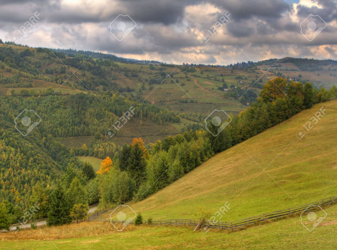 Autumn mountain landscape in a cloudy day.Location:Apuseni Mountains,Romania.(HDR image) Stock Photo - 3797256