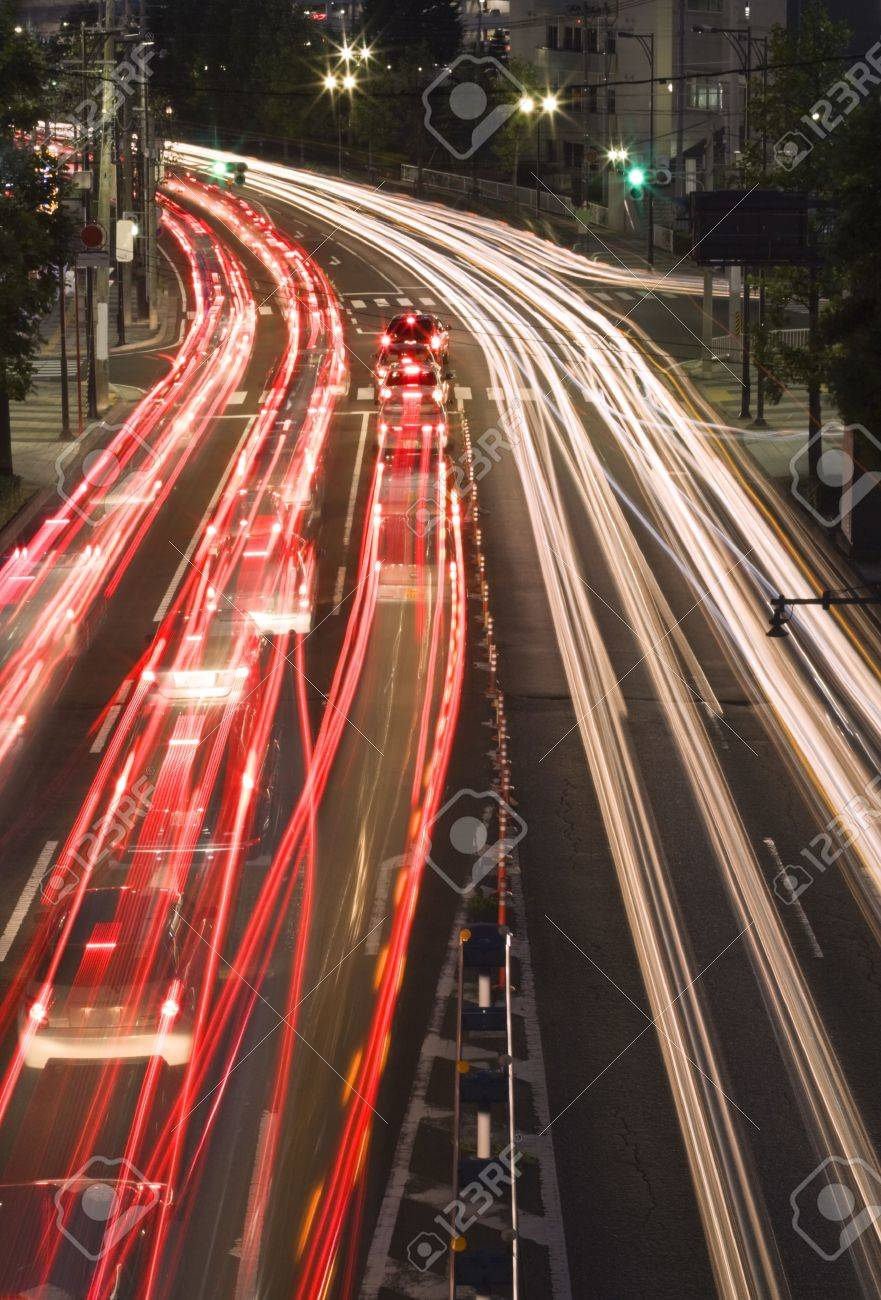 Colourful motion blur abstract on a city road during the night-Sendai, Japan. Stock Photo - 3814526