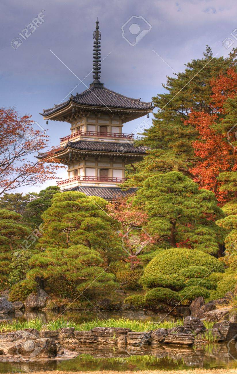 Autumn image of the garden and Pagoda from Rinoji temple,Sendai,Japan.(HDR image) Stock Photo - 3814525