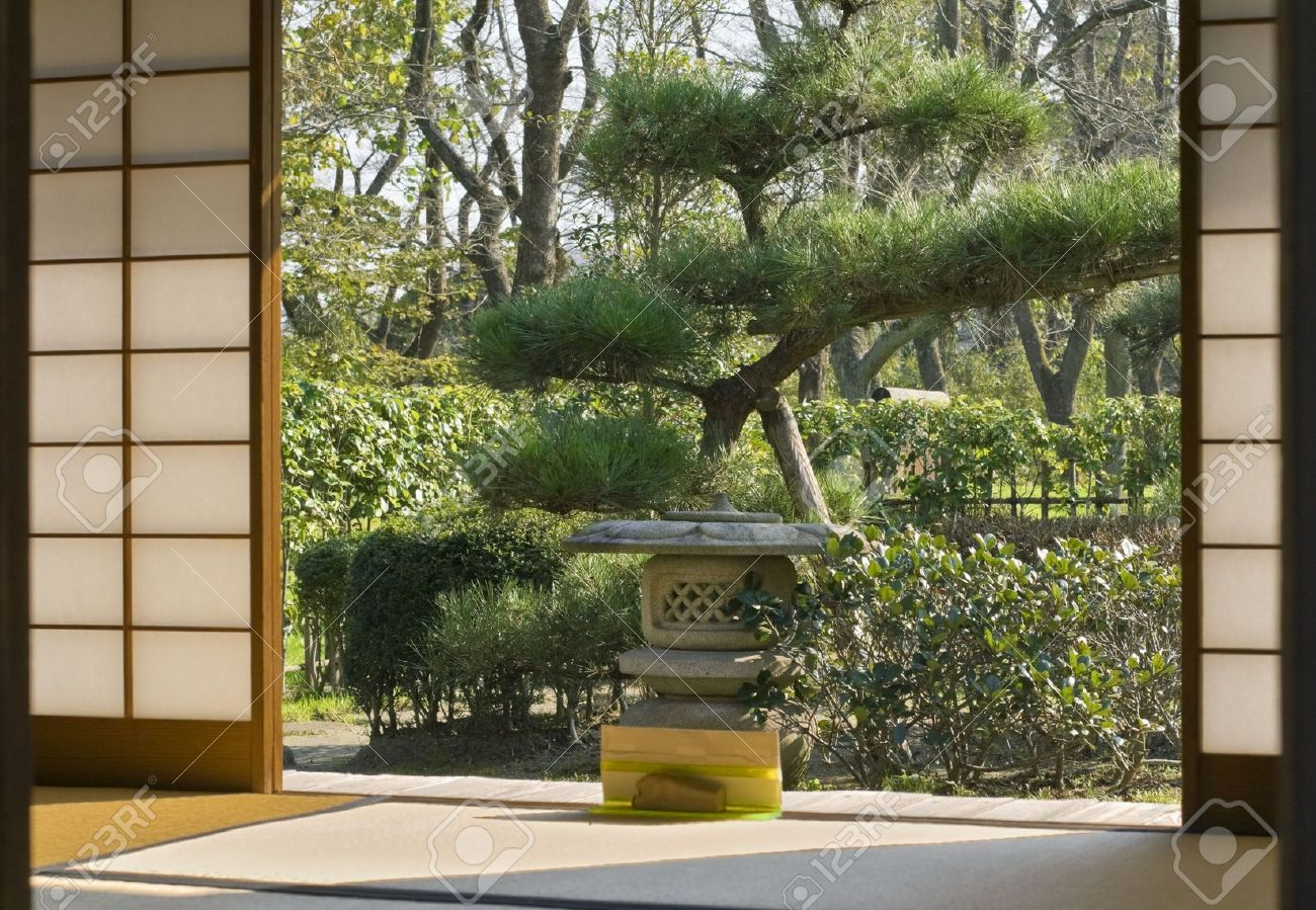 Japanese Garden Seen Through A Traditional Sliding Wall Of A Wooden House.  Stock Photo   Part 44