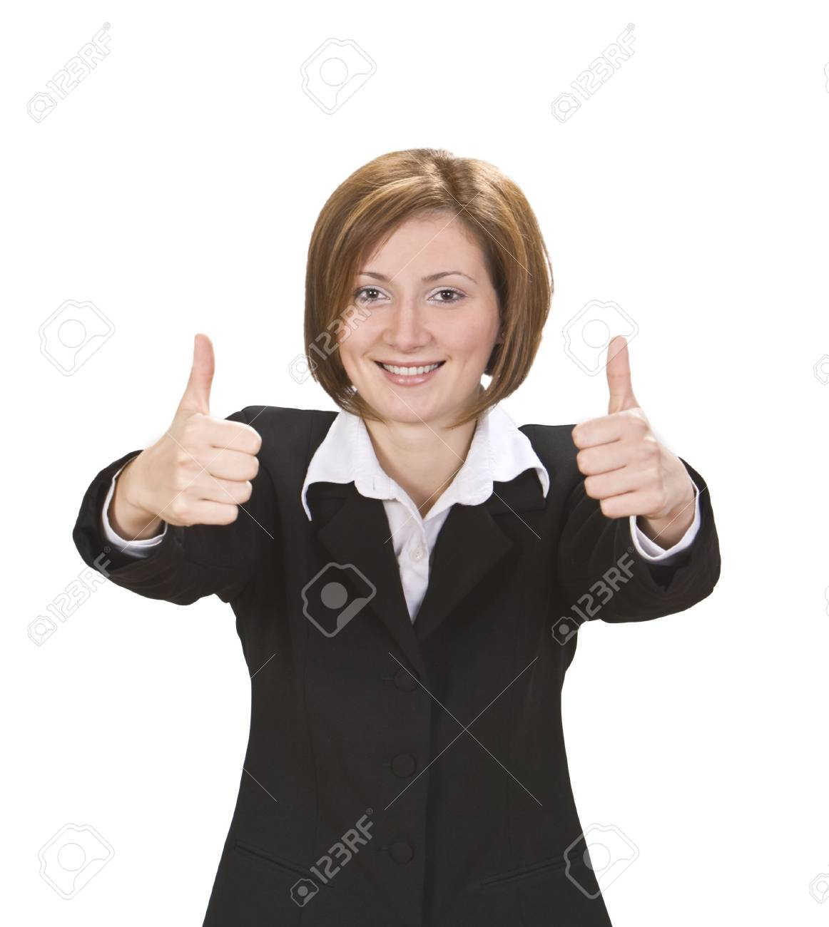 Happy businesswoman with thumbs-up isolated against a white background. Stock Photo - 3837224