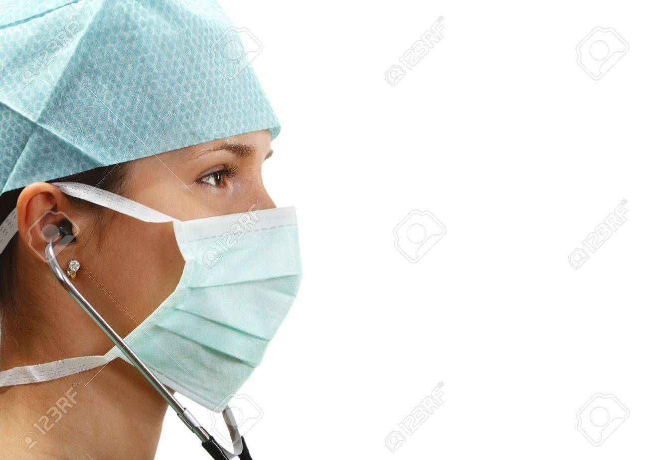 Profile of a female doctor with mask and stethoscope isolated against a white background. Stock Photo - 5154228
