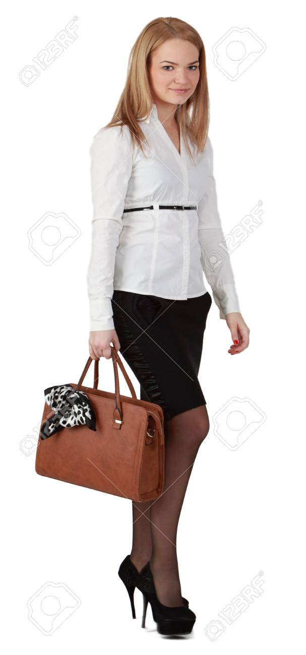 Young woman with handbag against a white background. Stock Photo - 12917749