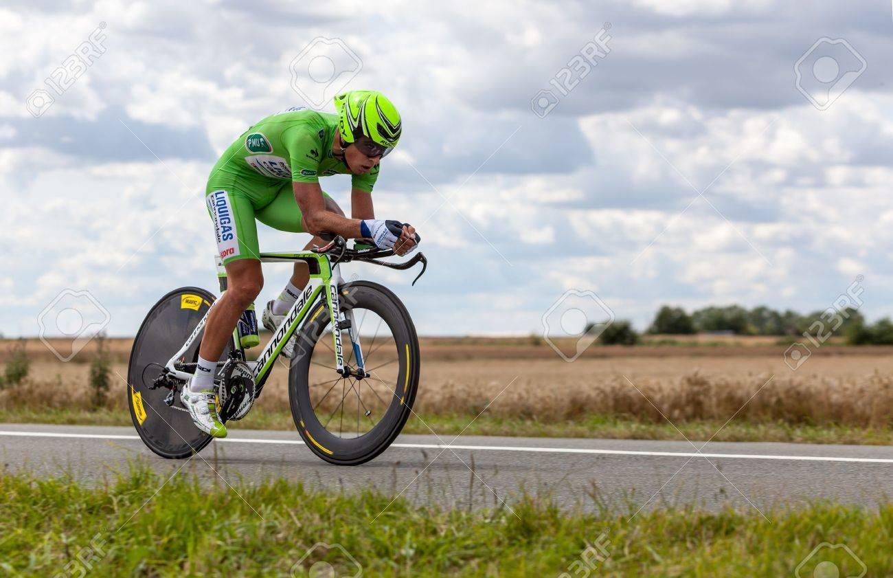 Beaurouvre,France, July 27 2012:Image of the Italian cyclist Sagan Peter (Liquigas-Cannondale team) wearing The Green Jersey ( the best sprinter) during the 19th stage- a time trial  between Bonneval and Chartres- of  Stock Photo - 14541766