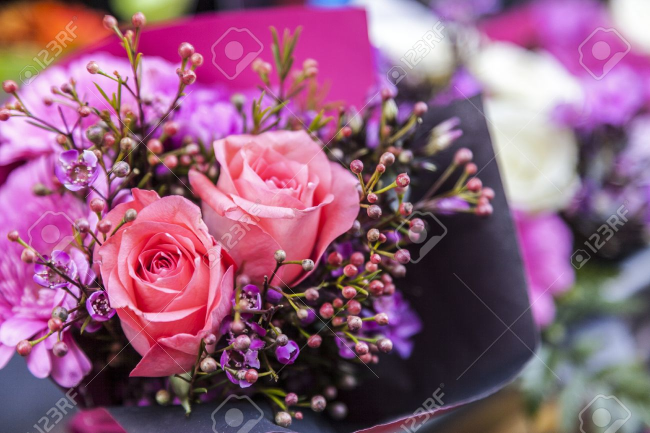 Close-up Image Of A Beautiful Flowers Bouquet With Two Pink Roses ...