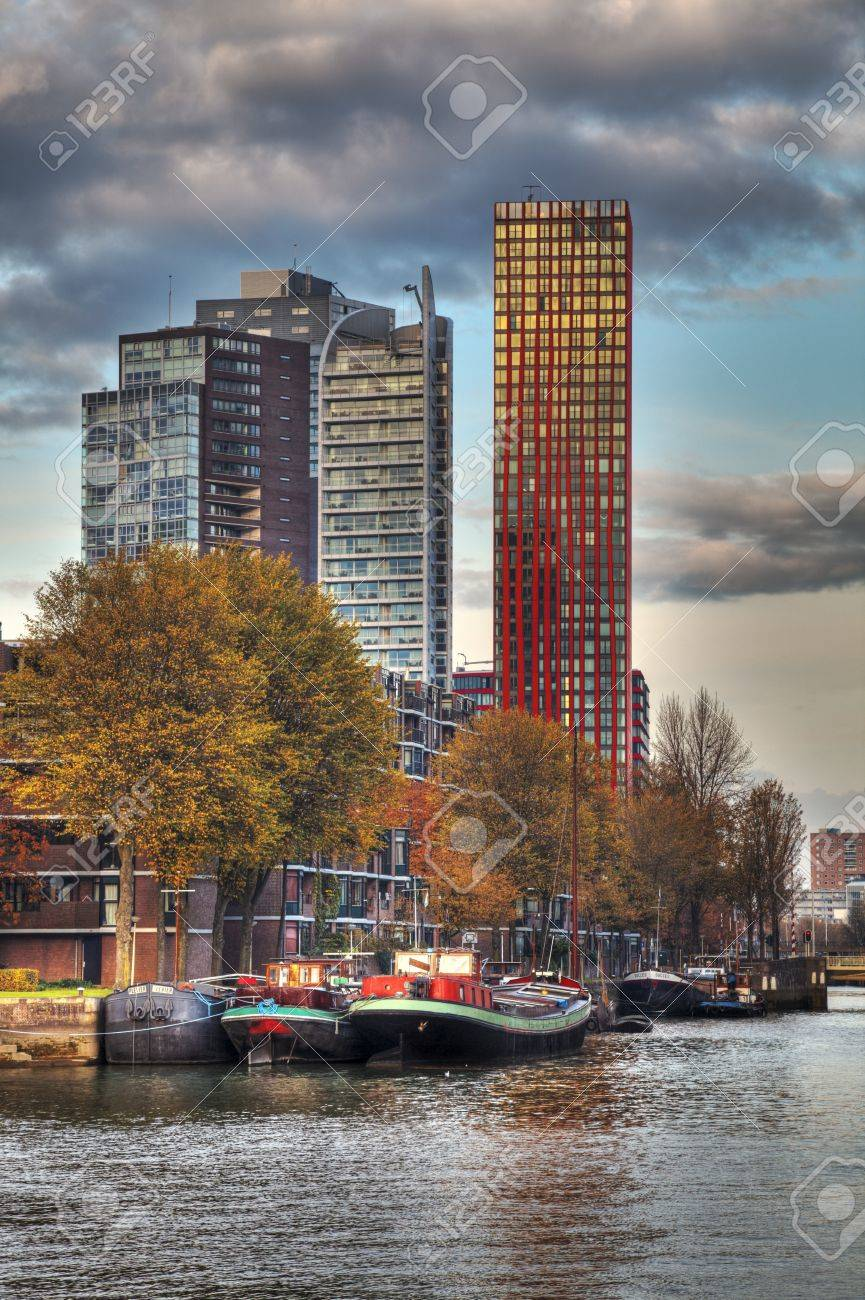 Rotterdam, Netherlands- November 1st, 2011: Skyscrapers near the port in Rotterdam. Rotterdam is the second largest city in Netherlands and the largest port in the world.It is called the Gateway to Europe. Stock Photo - 16869731