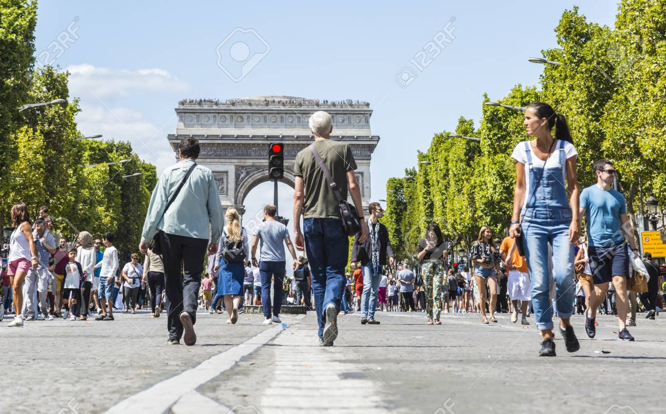 Paris July 62017 People Walking On The Famous French Boulevard Champs Elysees