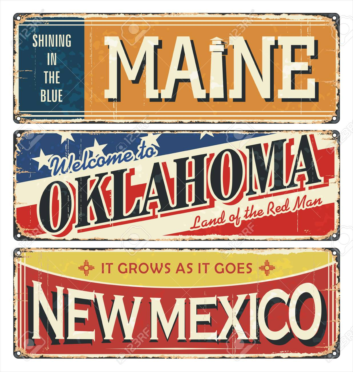 Vintage tin sign collection with USA state  Maine  Oklahoma