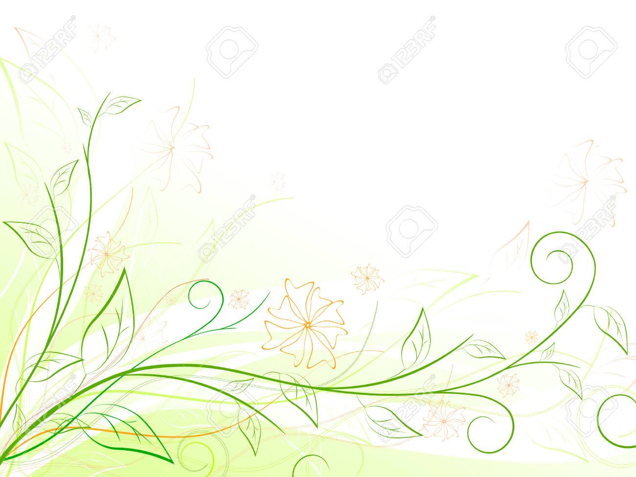 green floral frame with swirls and copyspace - 8056852