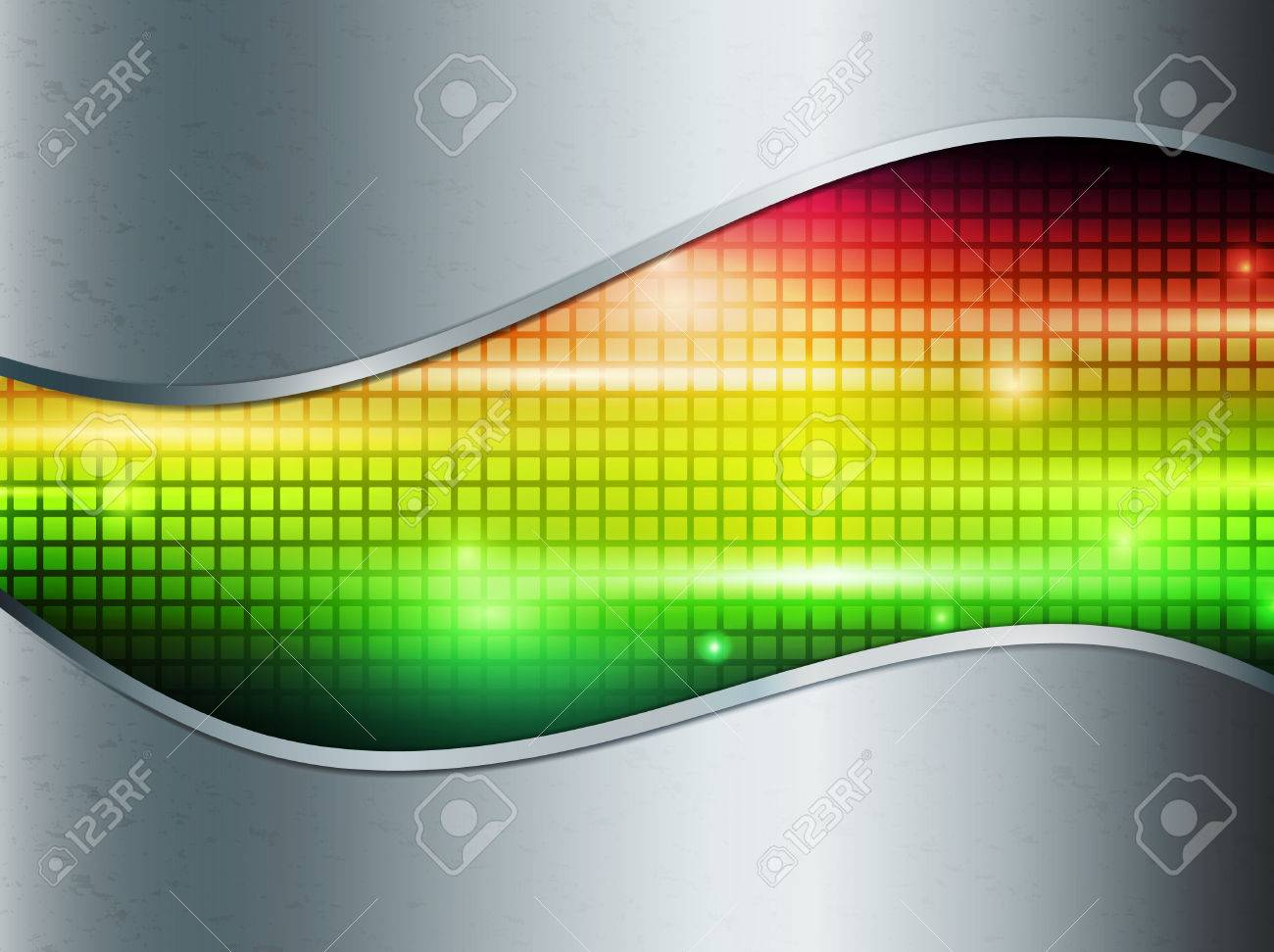 Rainbow multicolored abstract bright background in metal frame Stock Vector - 8928607