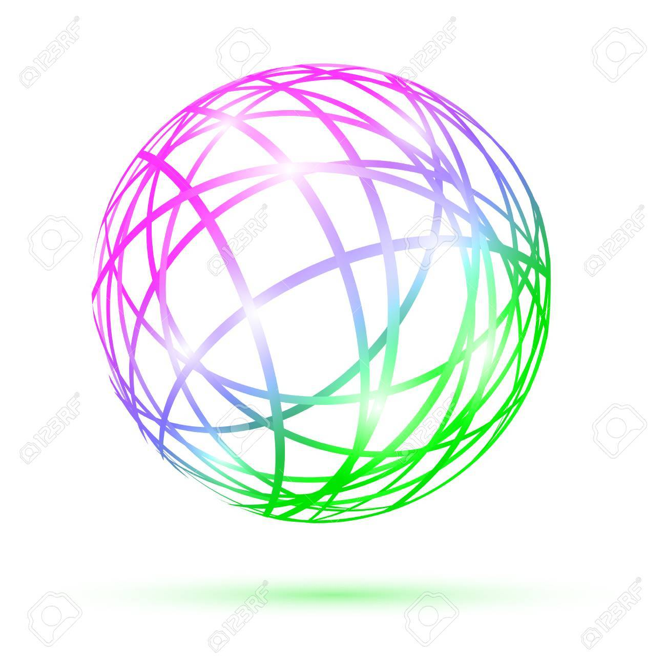 multicolored abstract ball over white background - 9093448